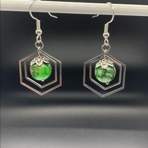 Hexagon conichalcite green earrings